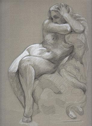 Eve à la pomme : pierre noire et crayon blanc