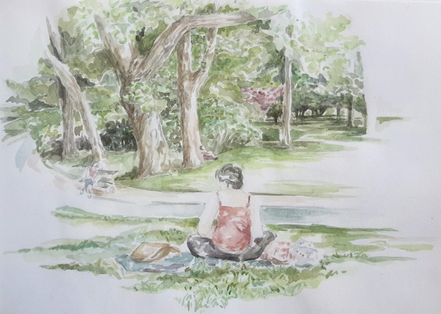 Paris parc Montsouris : aquarelle