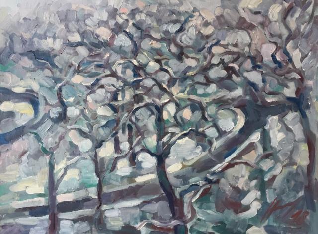 Parc Montsouris hiver : peinture à l'huile
