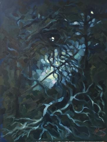 Parc Montsouris hiver 3 : peinture à l'huile