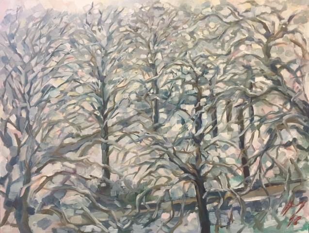 Parc Montsouris hiver 2 : peinture à l'huile