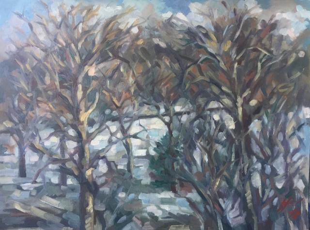 Parc Montsouris hiver 8 : peinture à l'huile