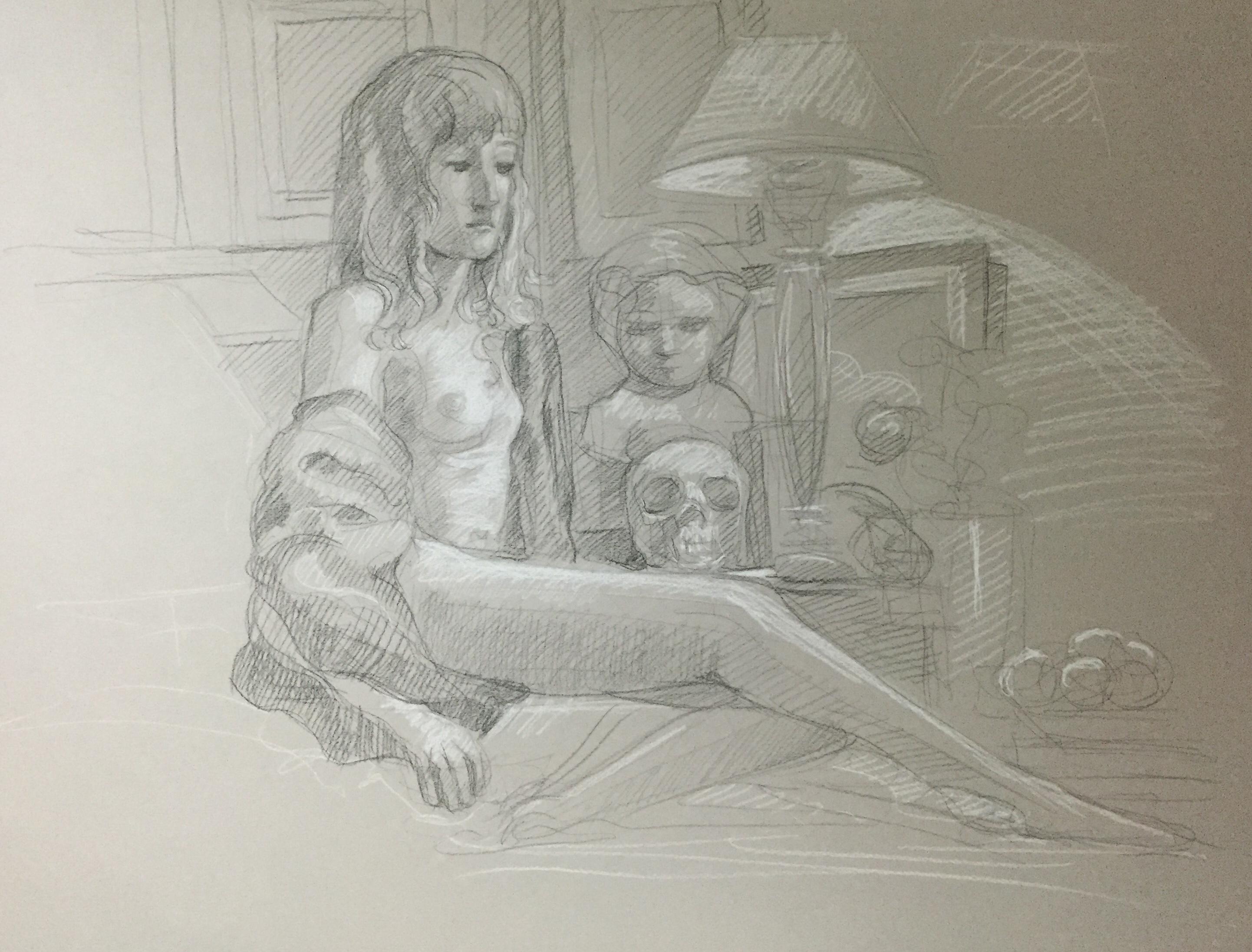 Modèle vivant 83 : pierre noire et crayon blanc