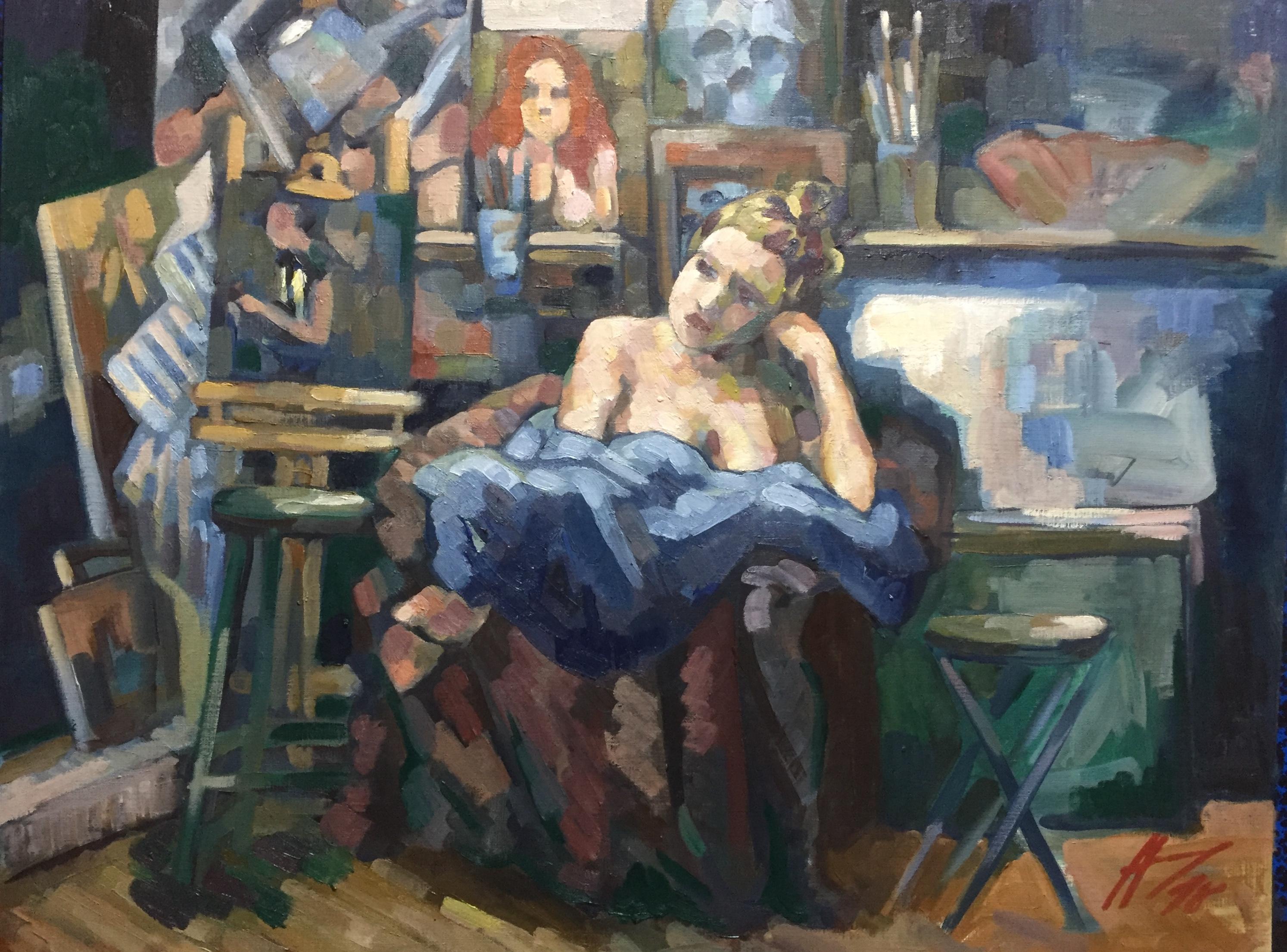 Interieurs 4 tome 2 ou l'amour et le crâne peinture à l'huile
