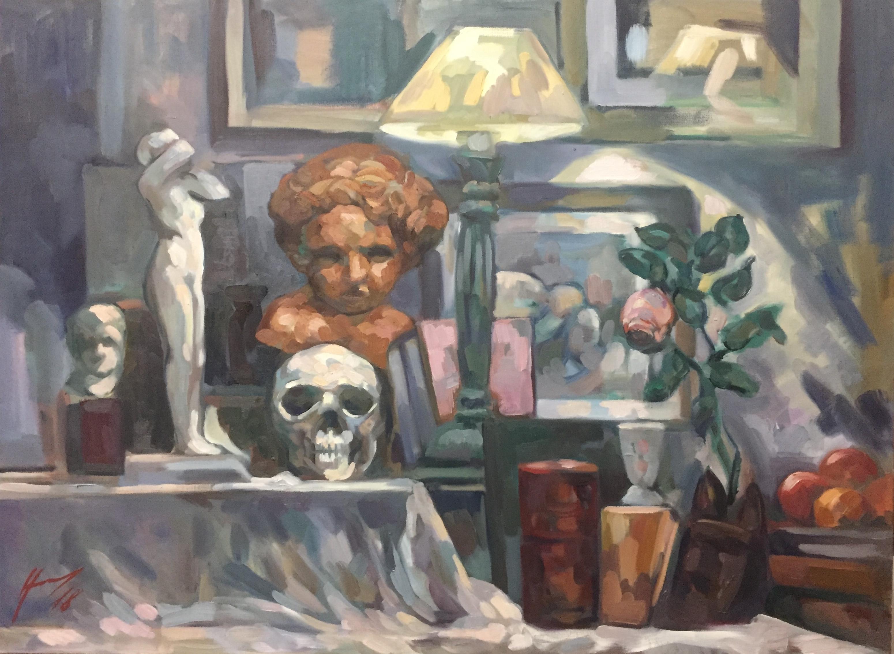 Interieurs 3 tome 2 ou l'amour et le crâne peinture à l'huile