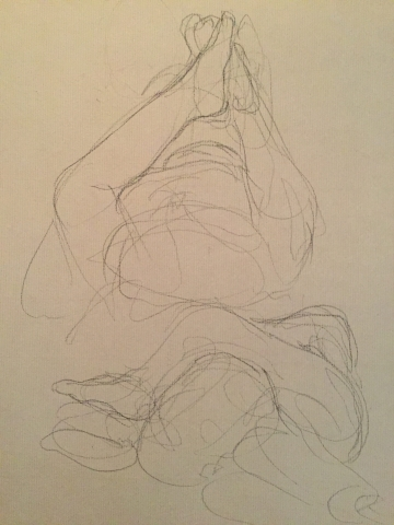 Erosticratie 5 pierre noire et crayon blanc