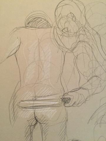 Erosticratie 9 pierre noire et crayon blanc