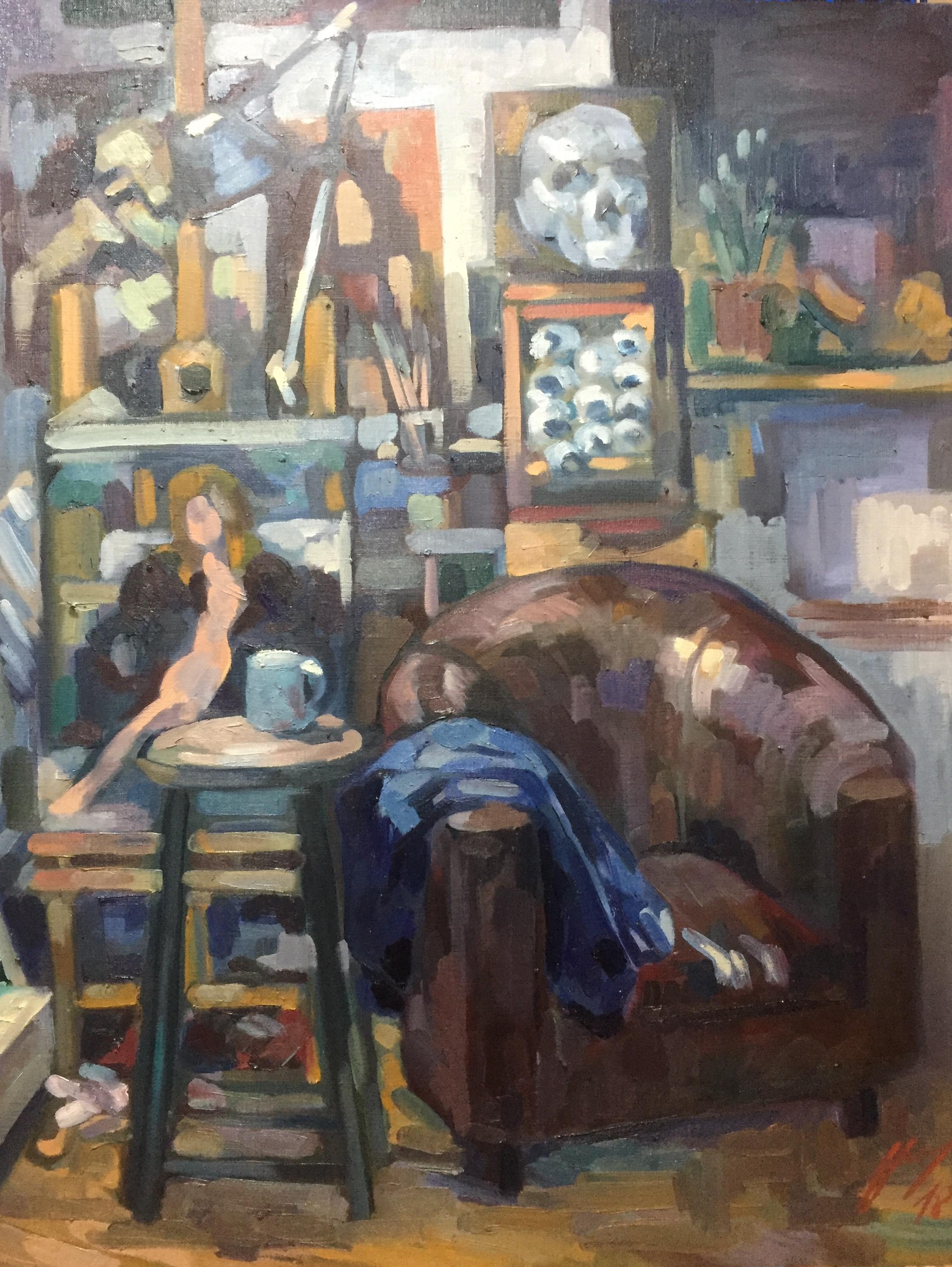 Interieurs 6 tome 2 ou l'amour et le crâne peinture à l'huile