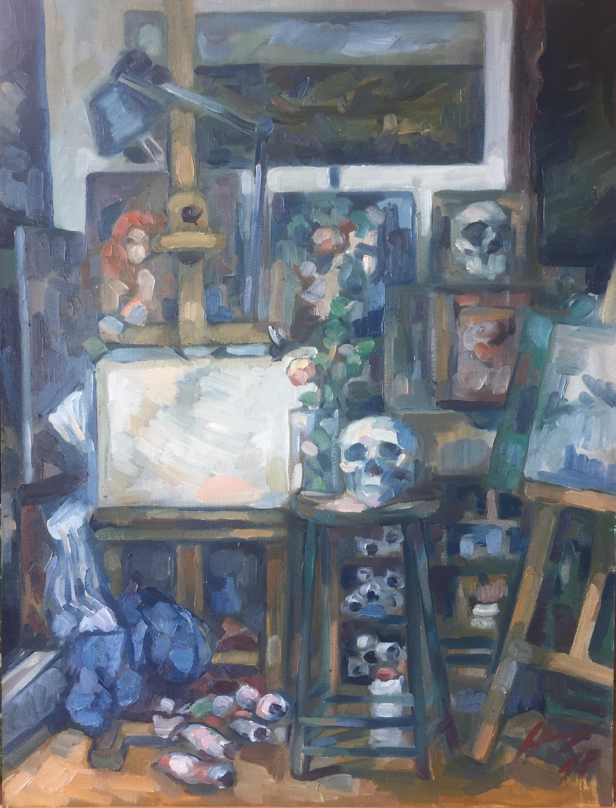 Interieurs 10 tome 2 ou l'amour et le crâne peinture à l'huile