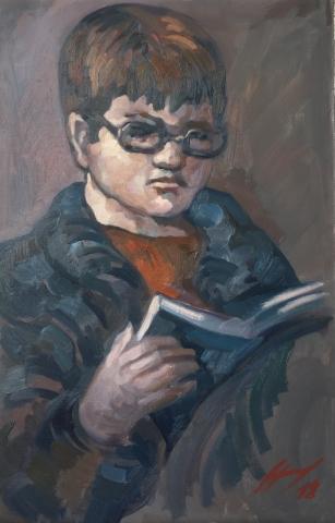 Charlie dans sa lecture peinture à l'huile