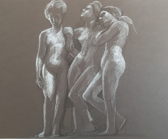 Les Trois Grâces pierre noire et crayon blanc