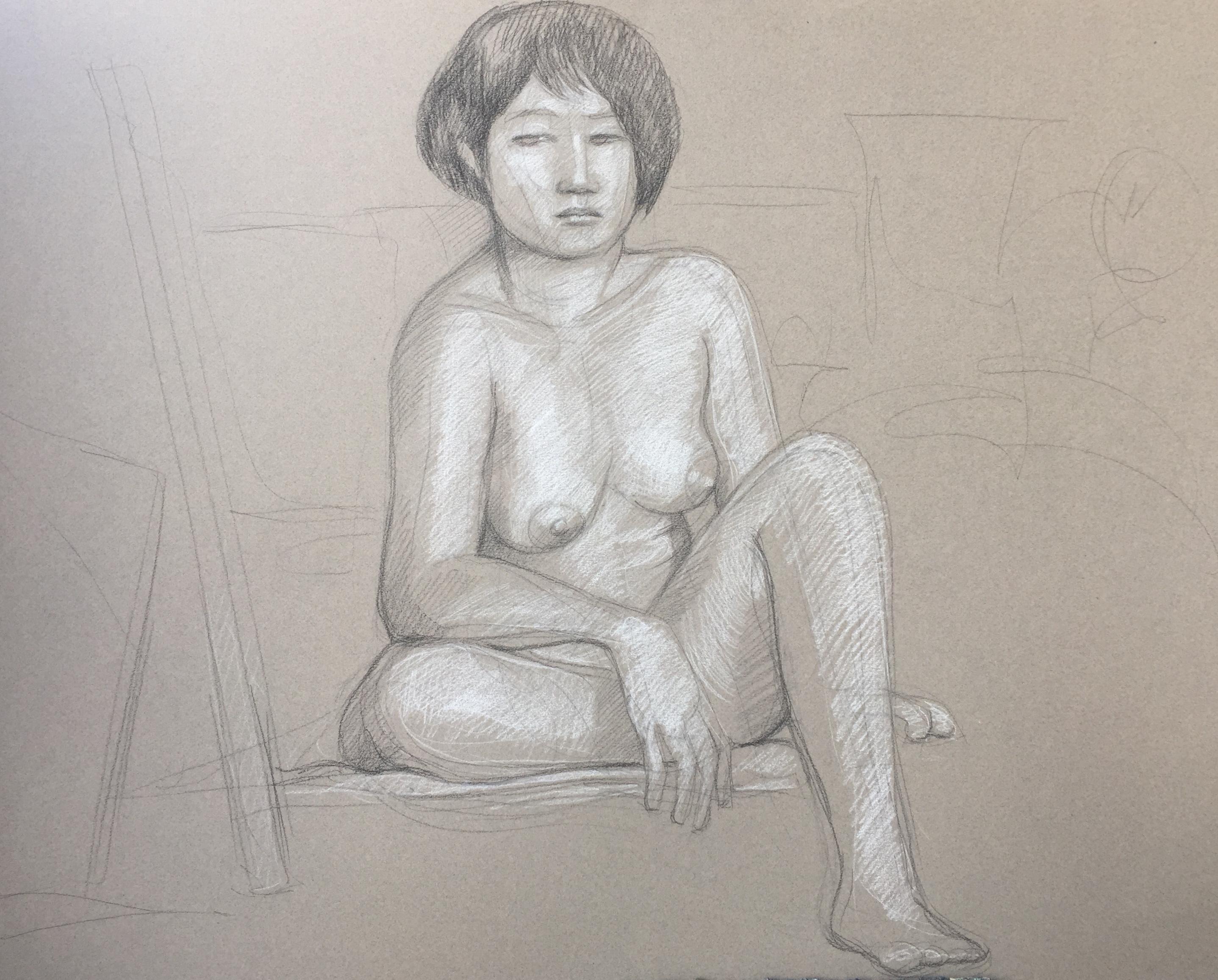 Modèle vivant 88 : pierre noire et crayon blanc