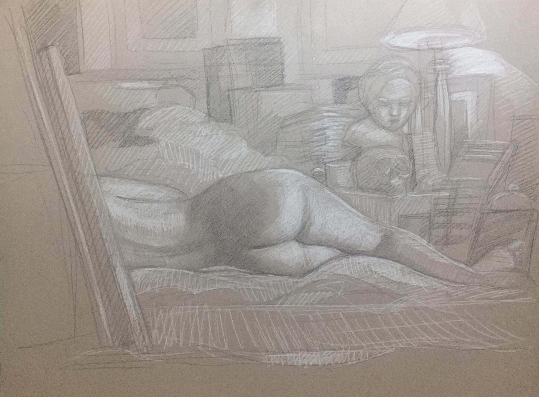 Modèle vivant 90 : pierre noire et crayon blanc