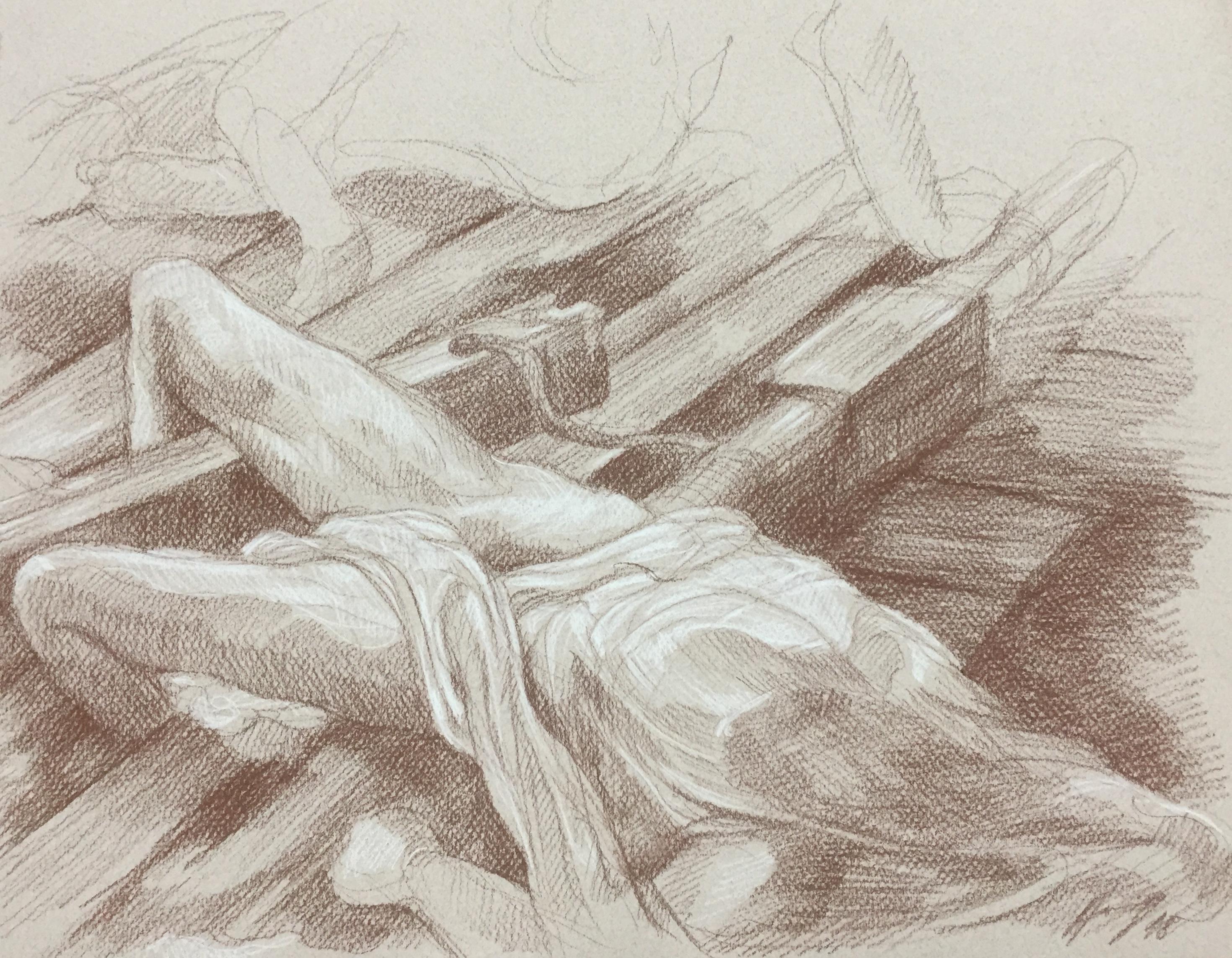Le radeau de la Méduse sépia et crayon blanc