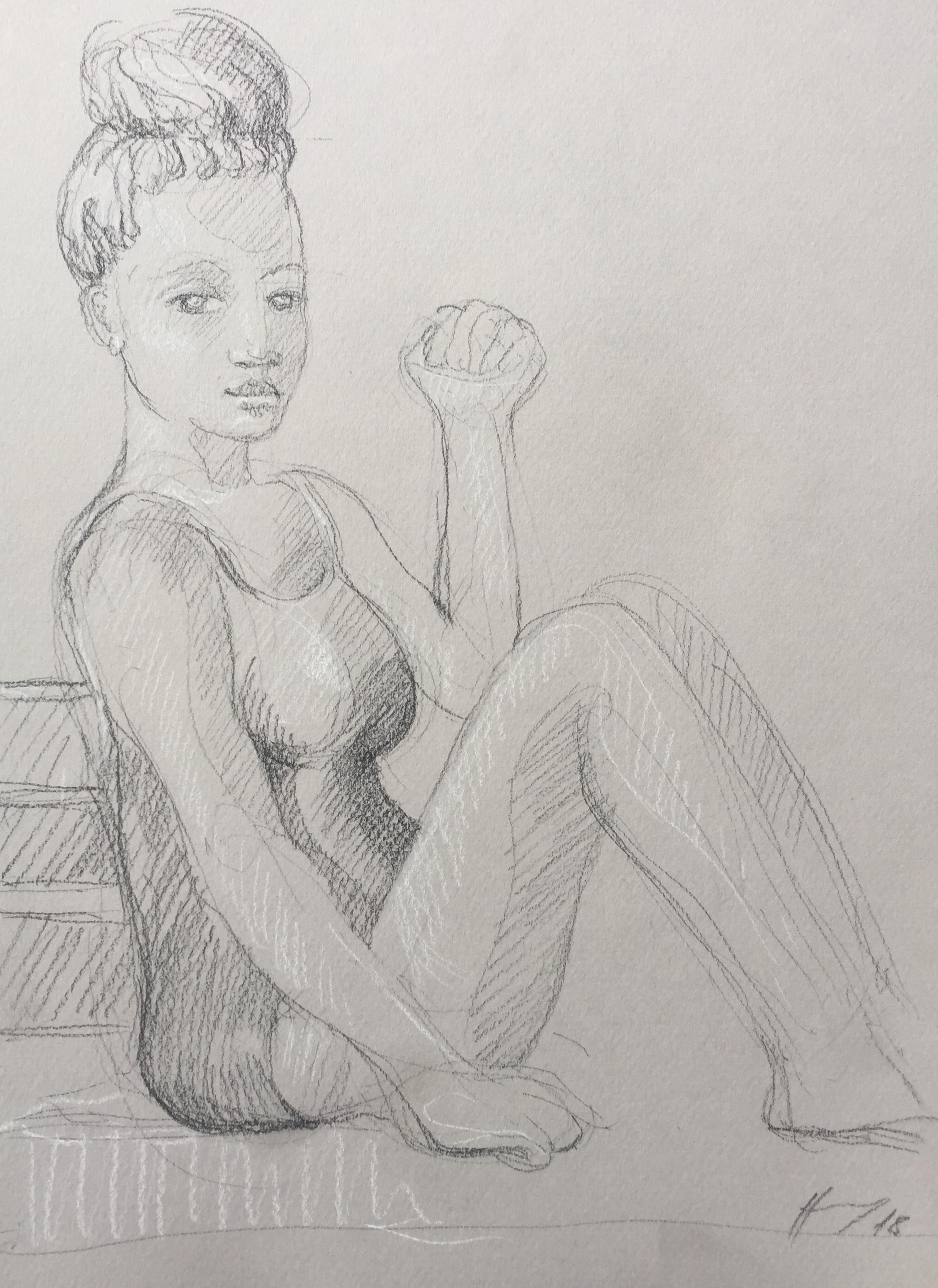 Portrait 6 : Bamako Mali pierre noire et crayon blanc