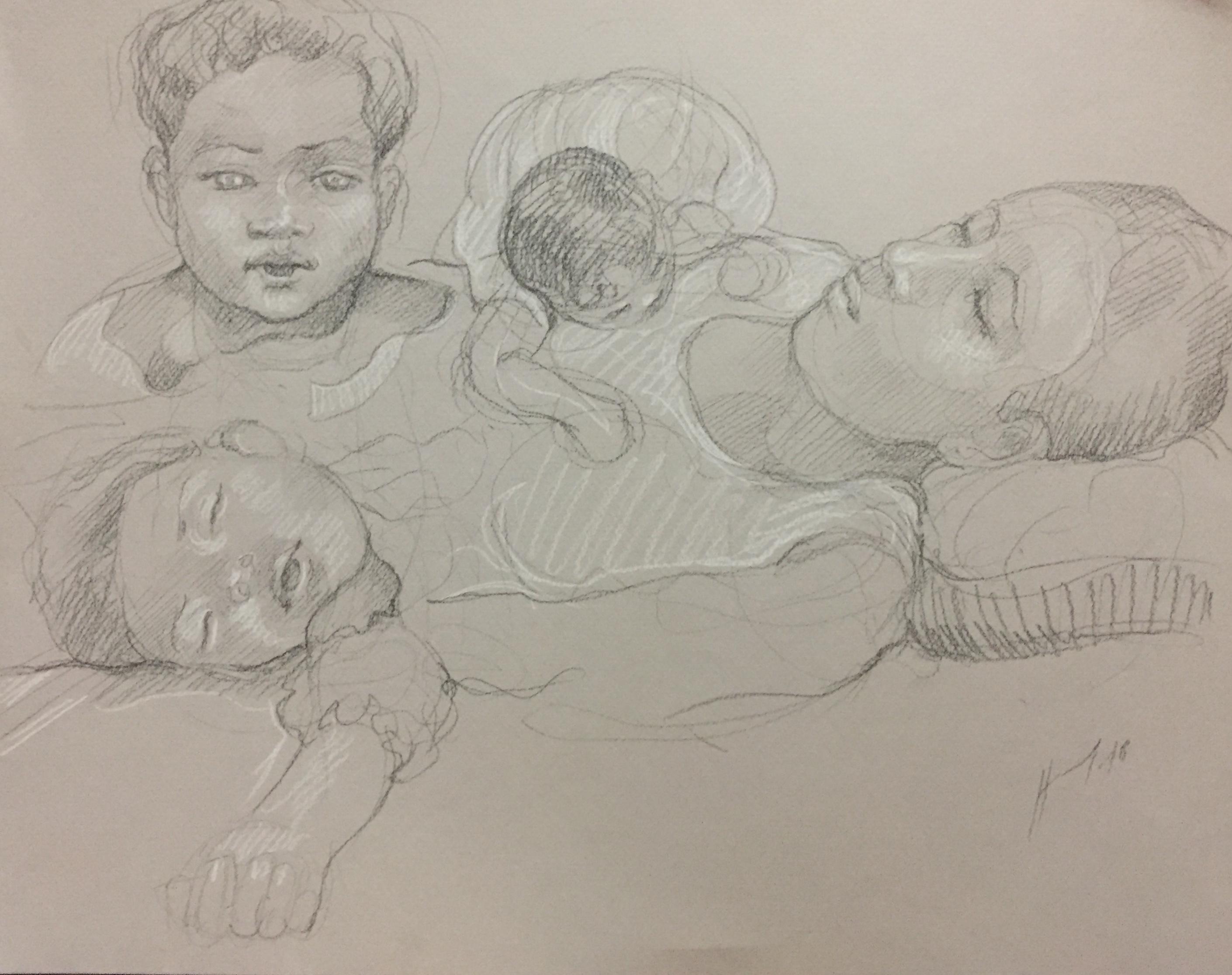 Portrait Fanta et Penda 3 : Bamako Mali pierre noire et crayon blanc