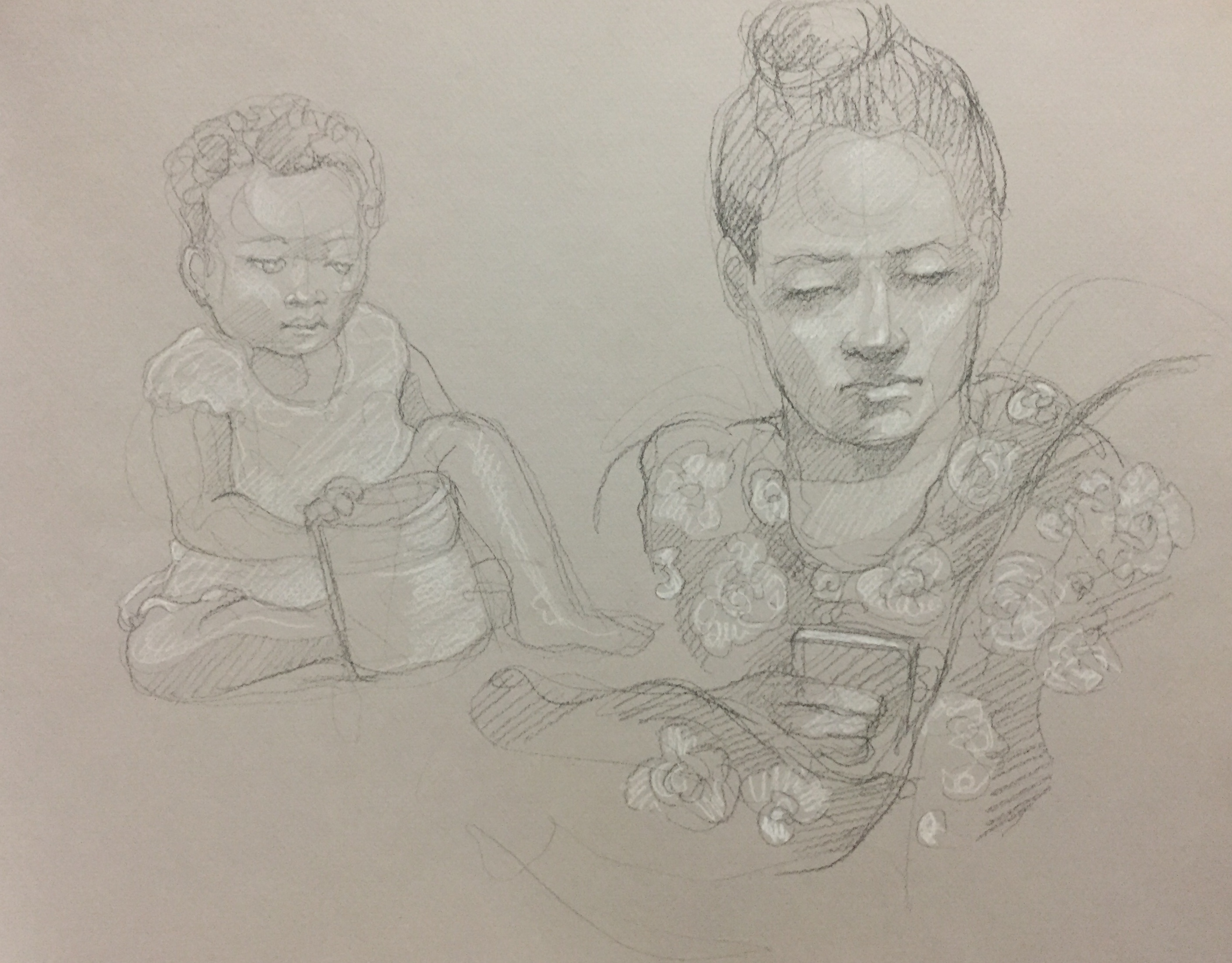 Portrait Fanta et Penda 2 : Bamako Mali pierre noire et crayon blanc