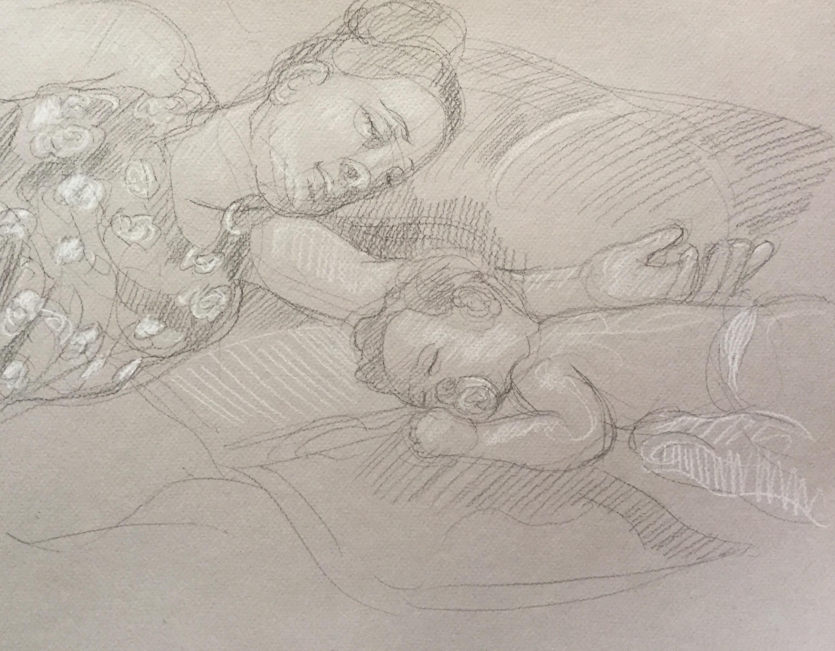 Portrait Fanta et Penda : Bamako Mali pierre noire et crayon blanc