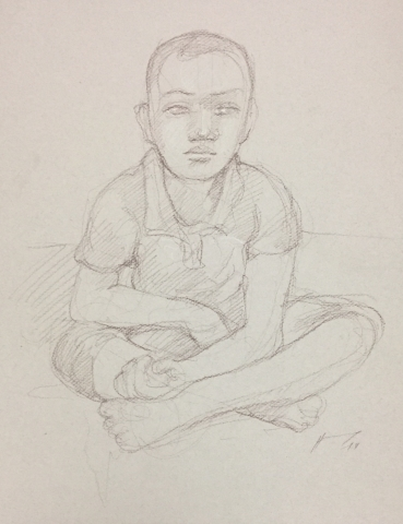 Portrait 3 : Bamako Mali sépia et crayon blanc