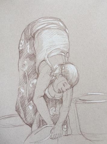 Portrait 2 : Bamako Mali sépia et crayon blanc