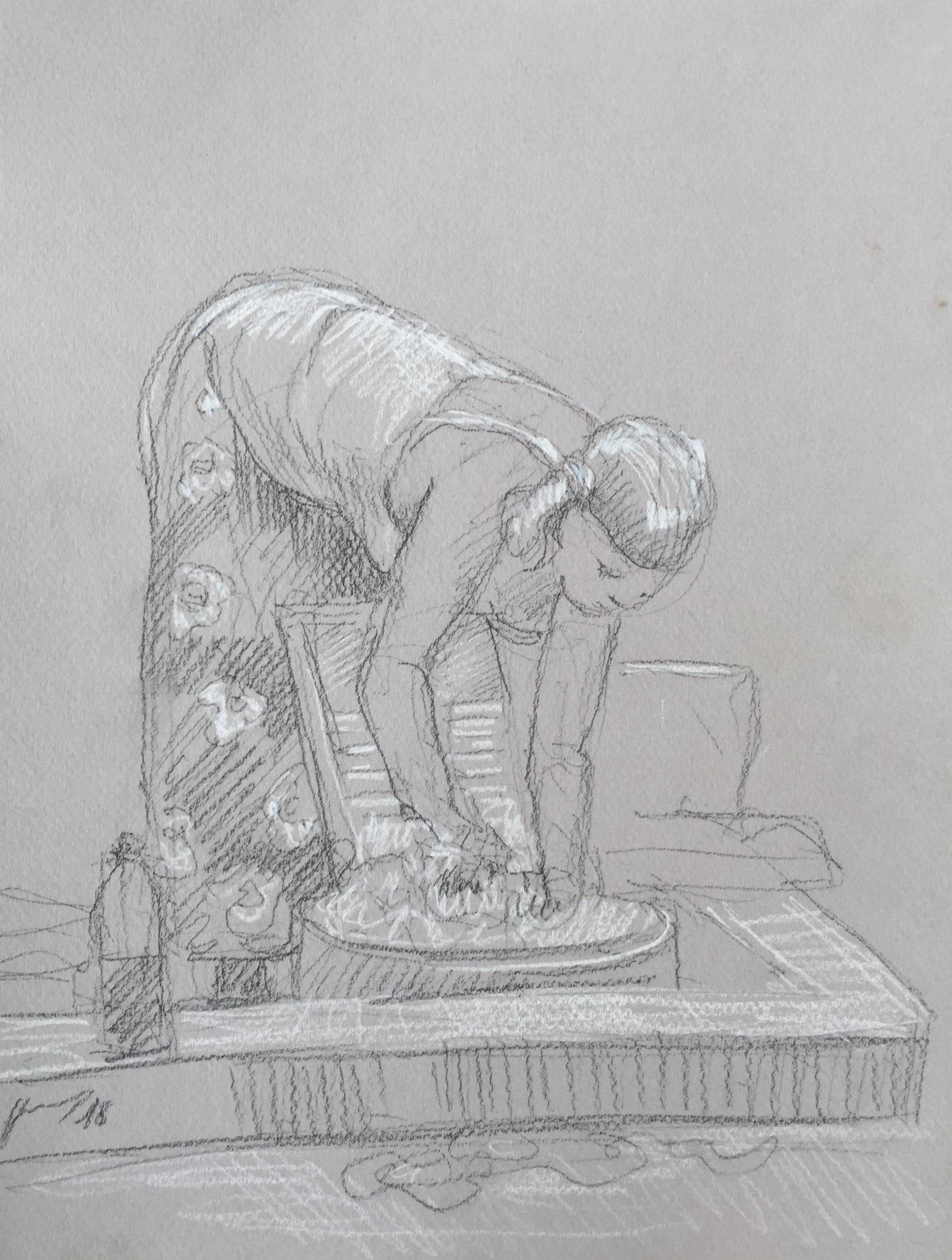 Portrait 4 : Bamako Mali pierre noire et crayon blanc