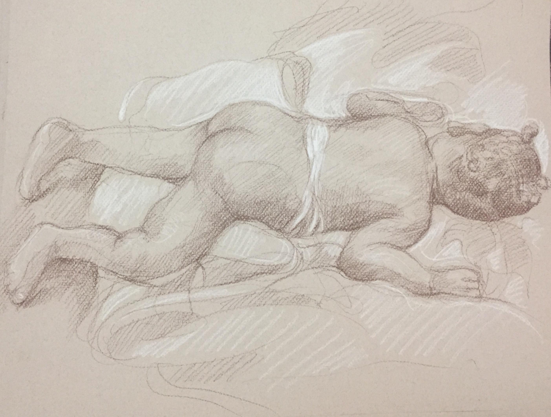 Portrait Fanta 3 : Bamako Mali sépia et crayon blanc