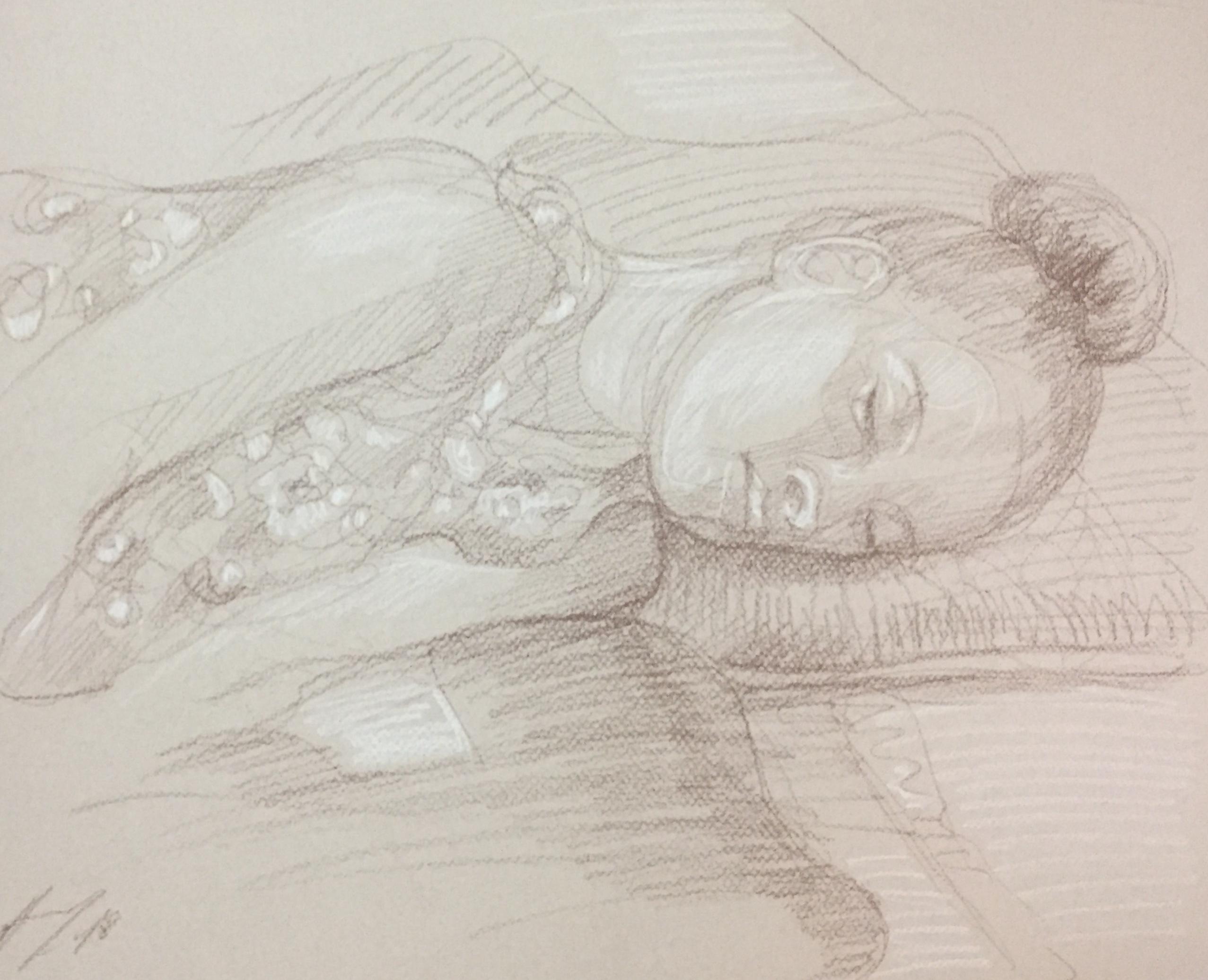 Portrait Penda 3 : Bamako Mali sépia et crayon blanc