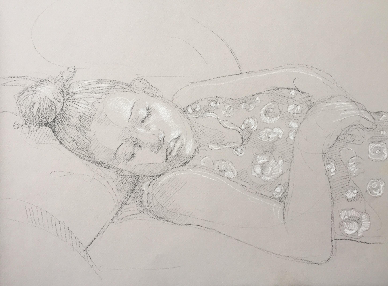 Portrait Penda 2 : Bamako Mali pierre noire et crayon blanc
