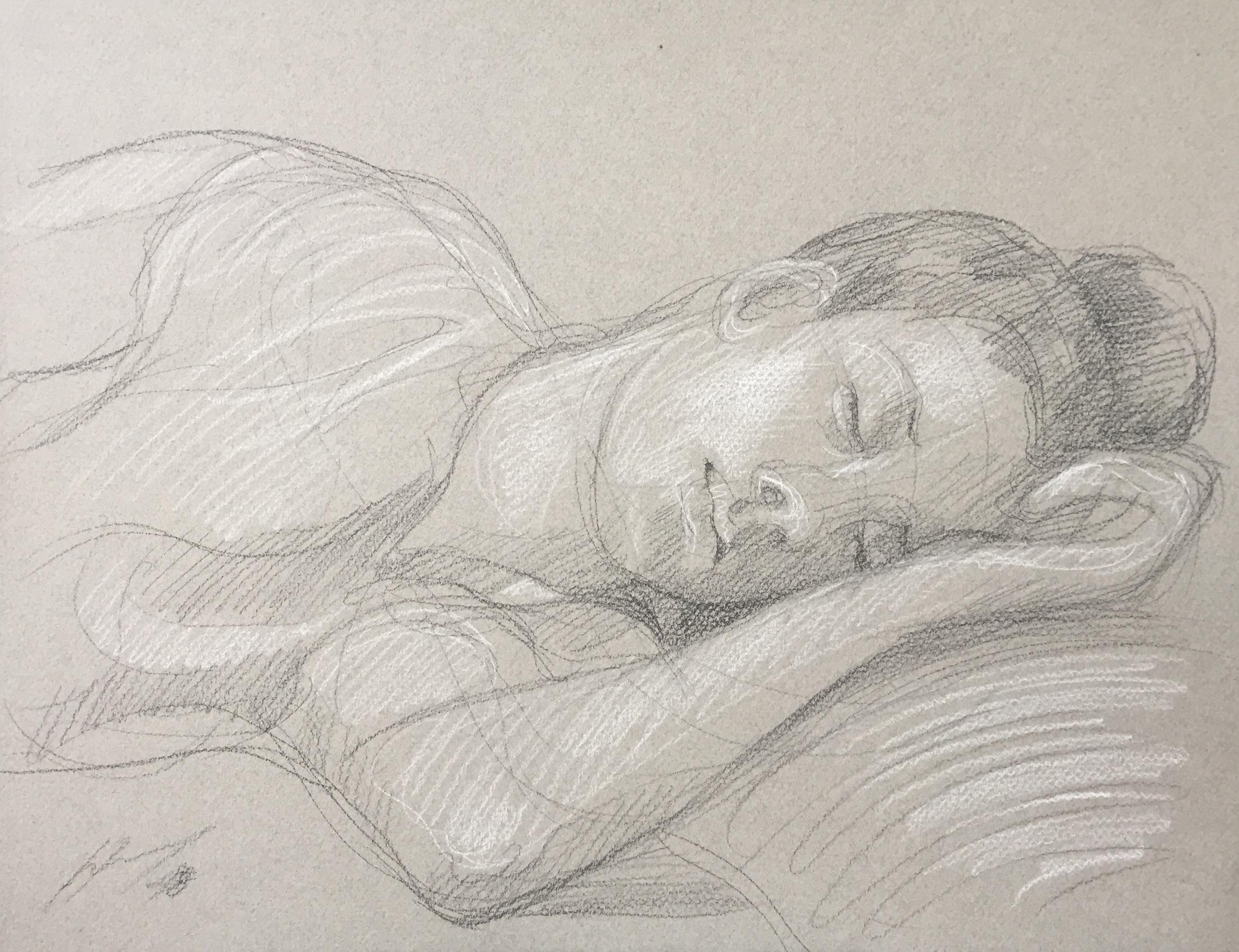 Portrait Penda : Bamako Mali pierre noire et crayon blanc
