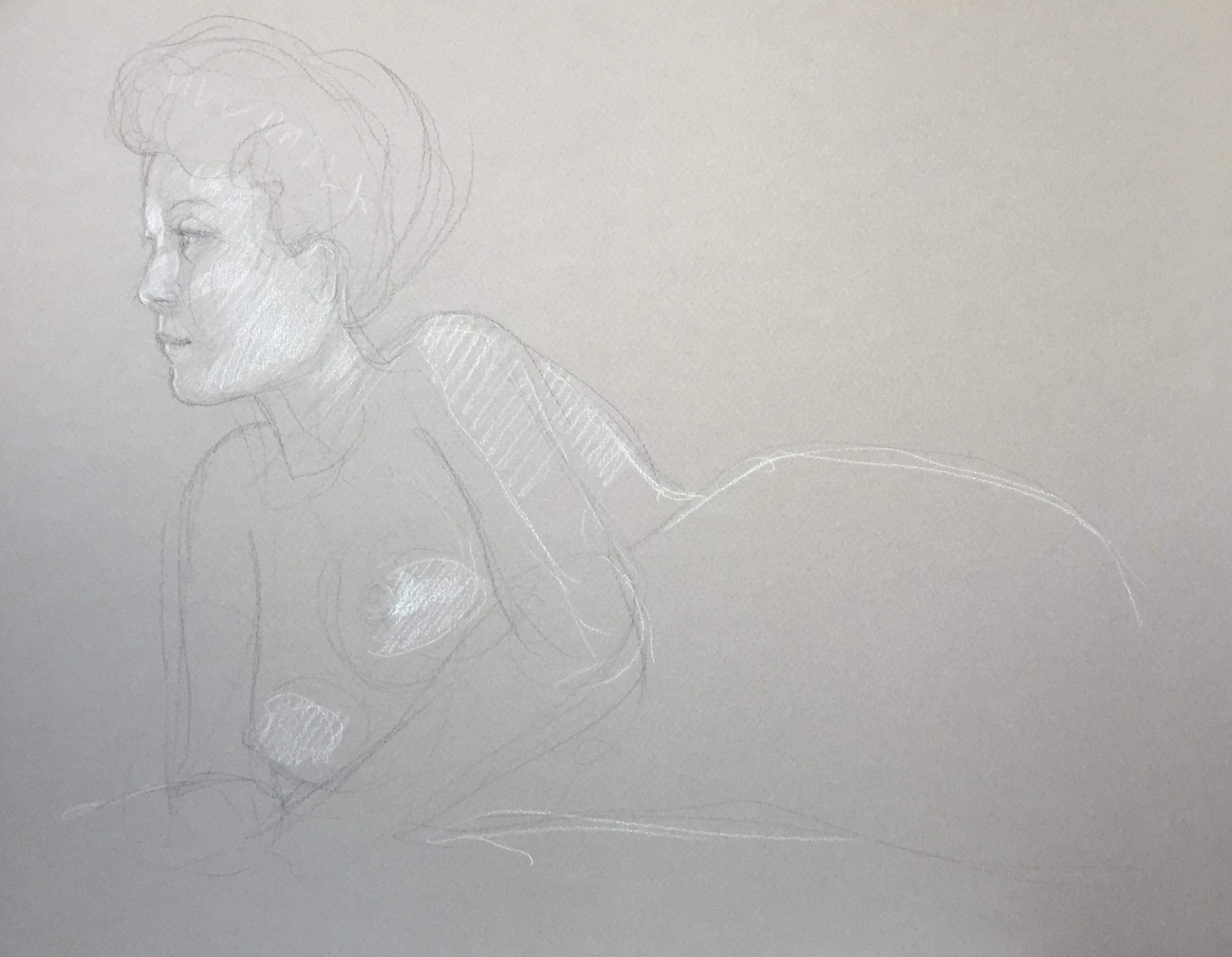 Modèle vivant 112 : pierre noire et crayon blanc