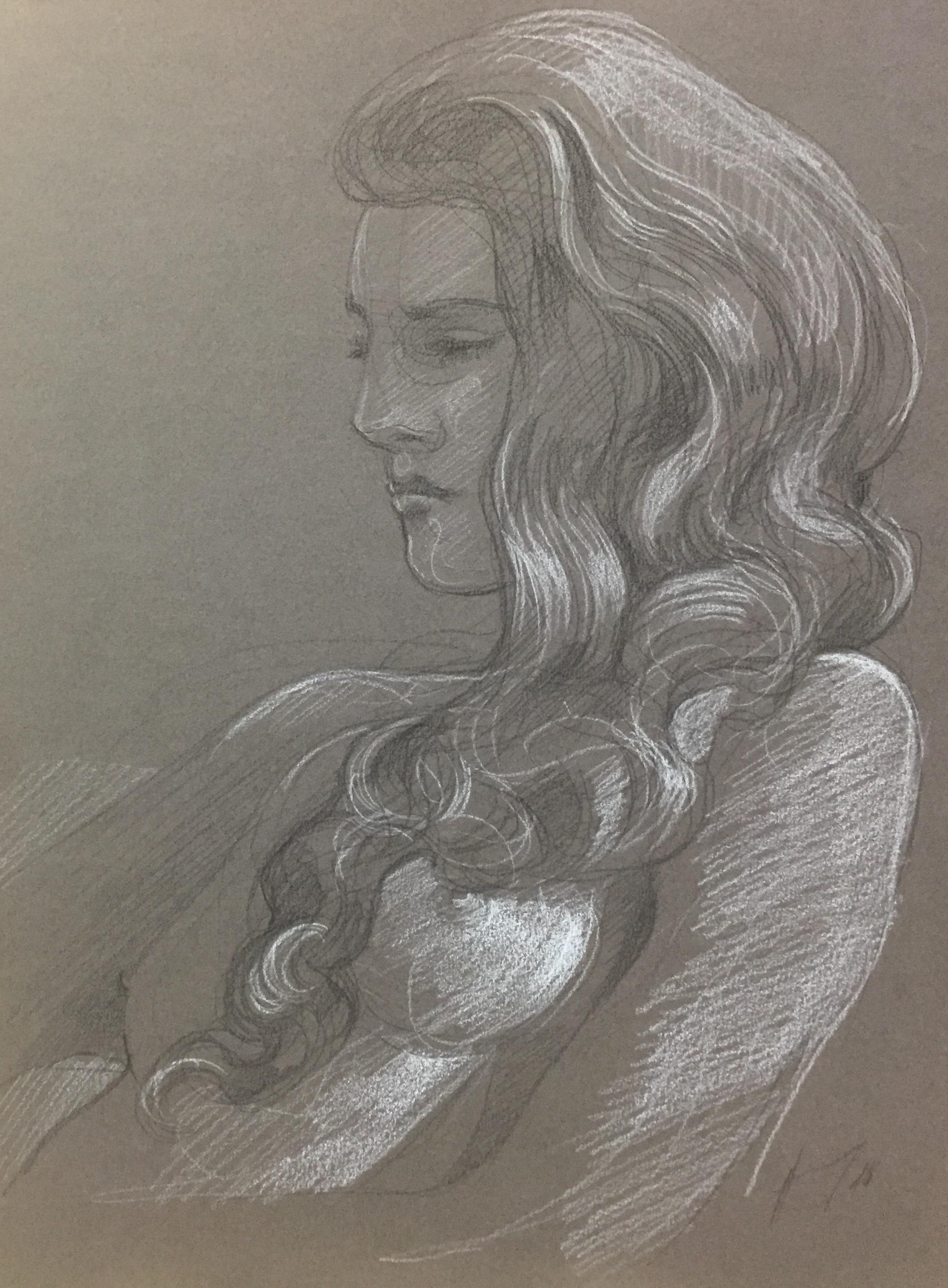 Modèle vivant 114 : pierre noire et crayon blanc
