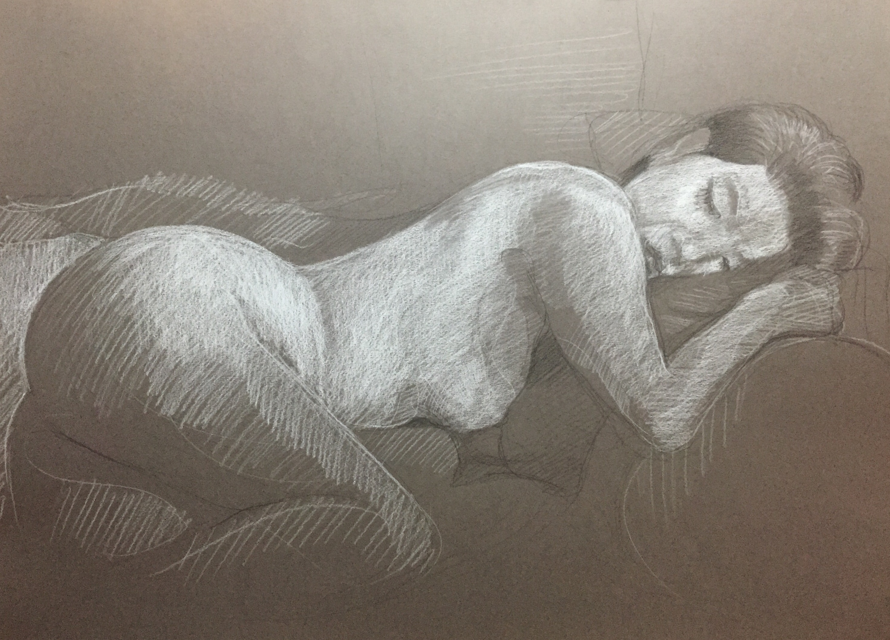 Modèle vivant 116 : pierre noire et crayon blanc