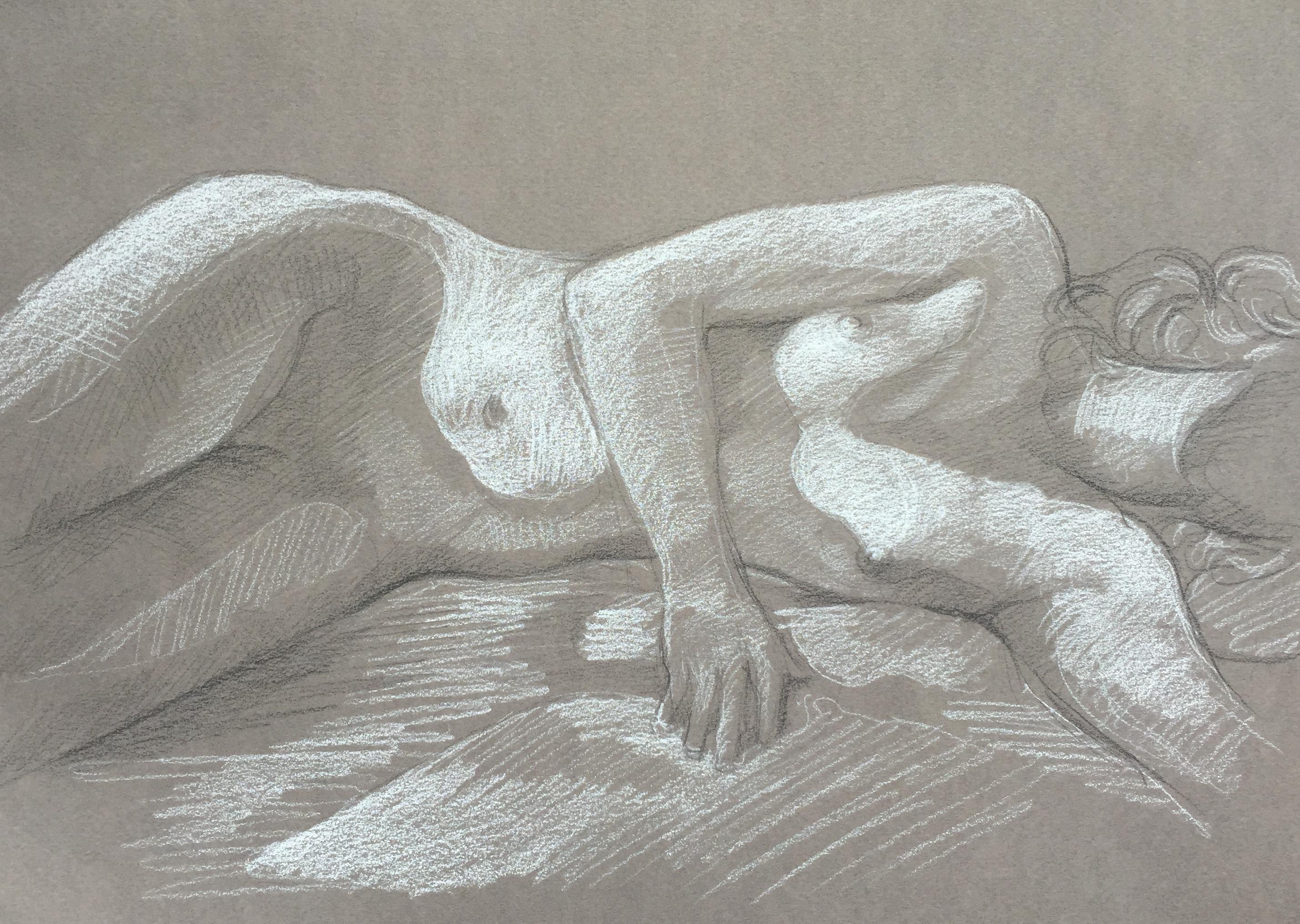 Modèle vivant 118 : pierre noire et crayon blanc