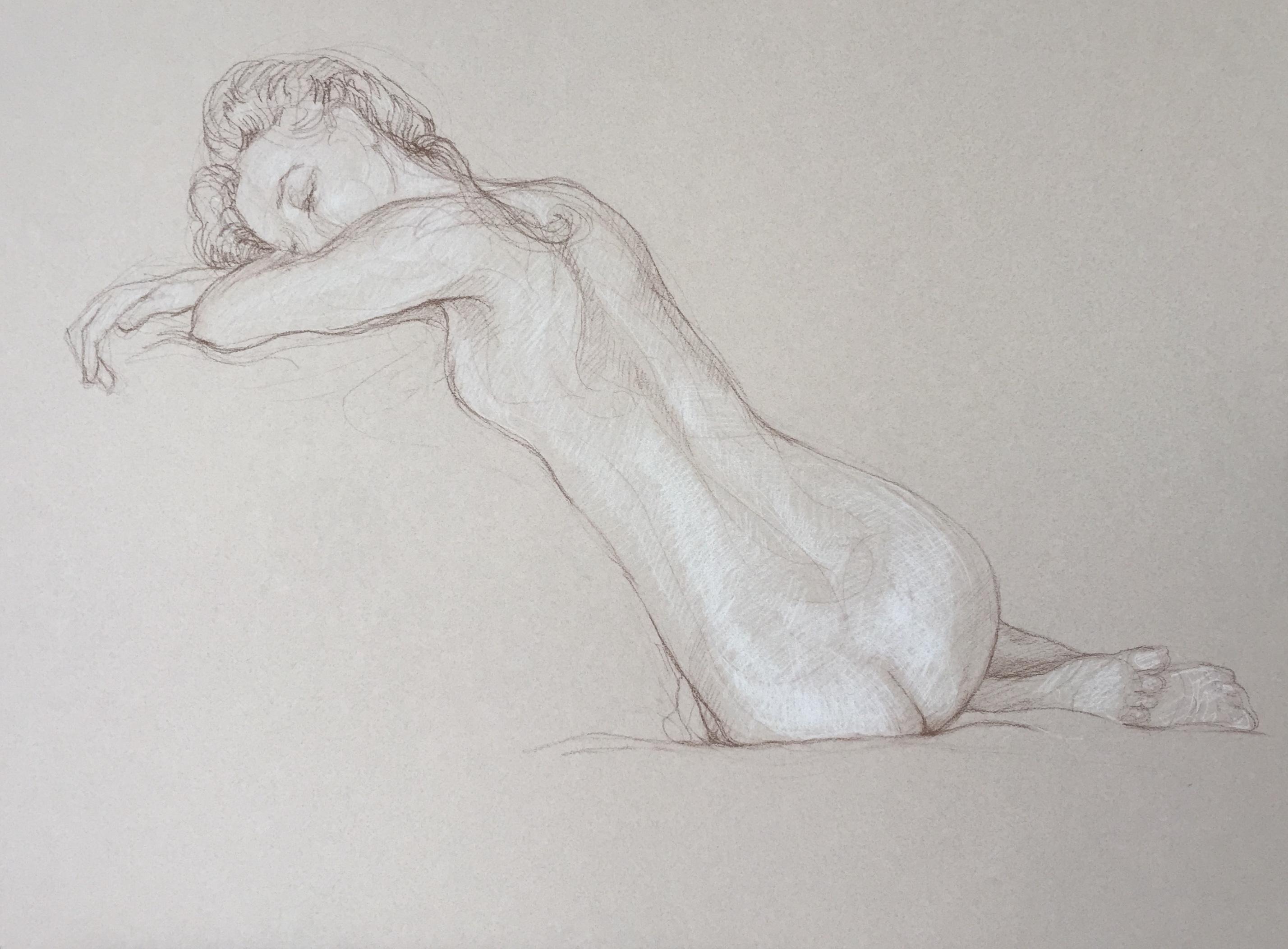 Modèle vivant 21 : sépia et crayon blanc