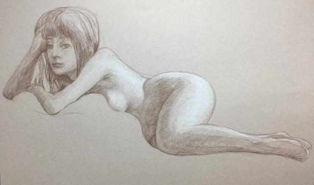 Modèle vivant 26 : sépia et crayon blanc