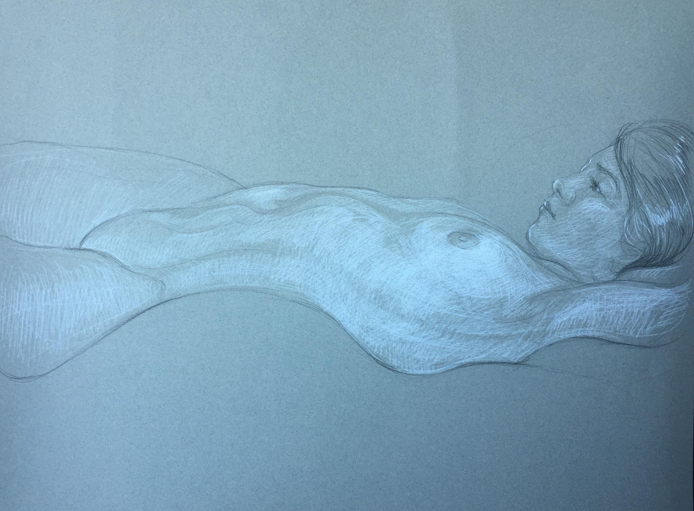 Modèle vivant 127 : pierre noire et crayon blanc