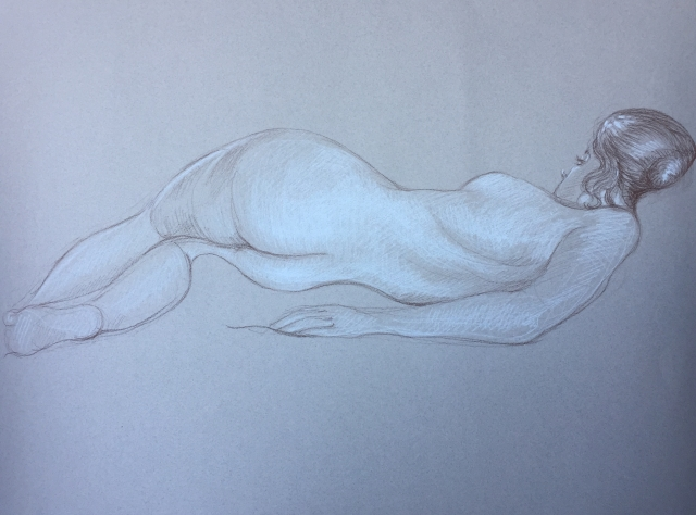 Modèle vivant 23 : sépia et crayon blanc