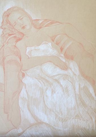 Modèle vivant 14 : sanguine et crayon blanc