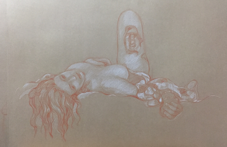 Modèle vivant 16 : sanguine et crayon blanc