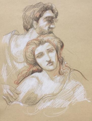 Les Romains de la décadence pierre noire sanguine et crayon blanc