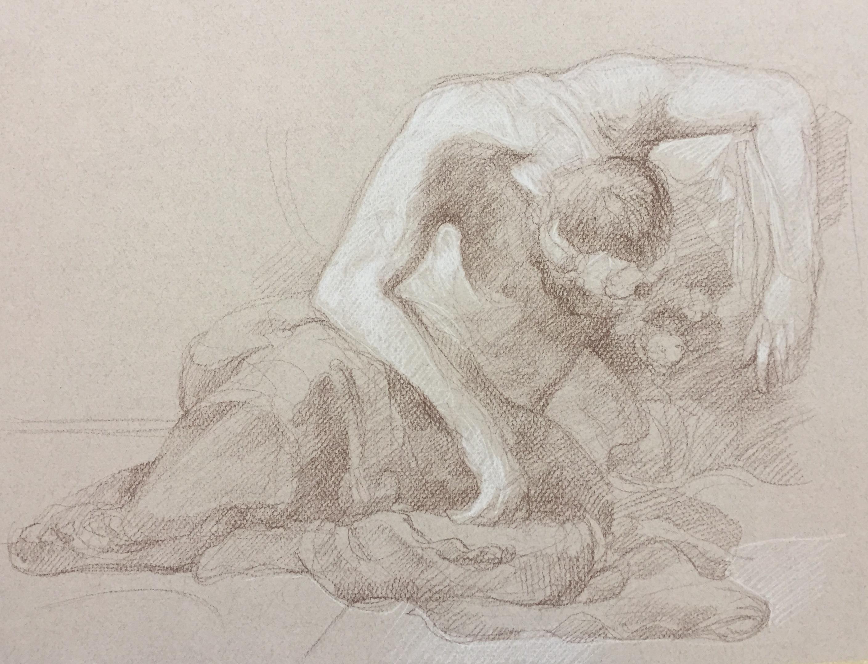 Les Romains de la décadence sépia et crayon blanc