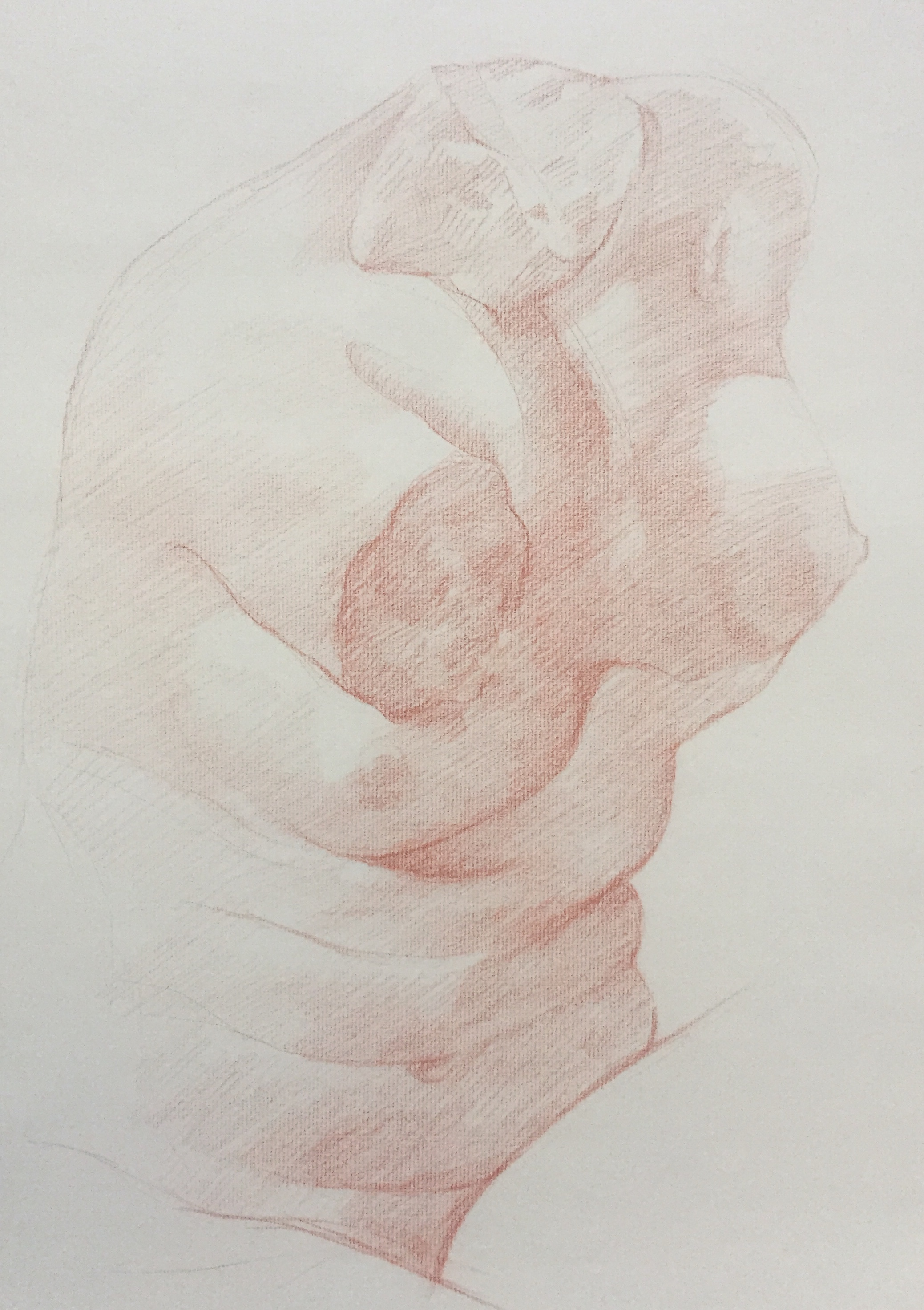 Aphrodite accroupie sanguine et crayon blanc
