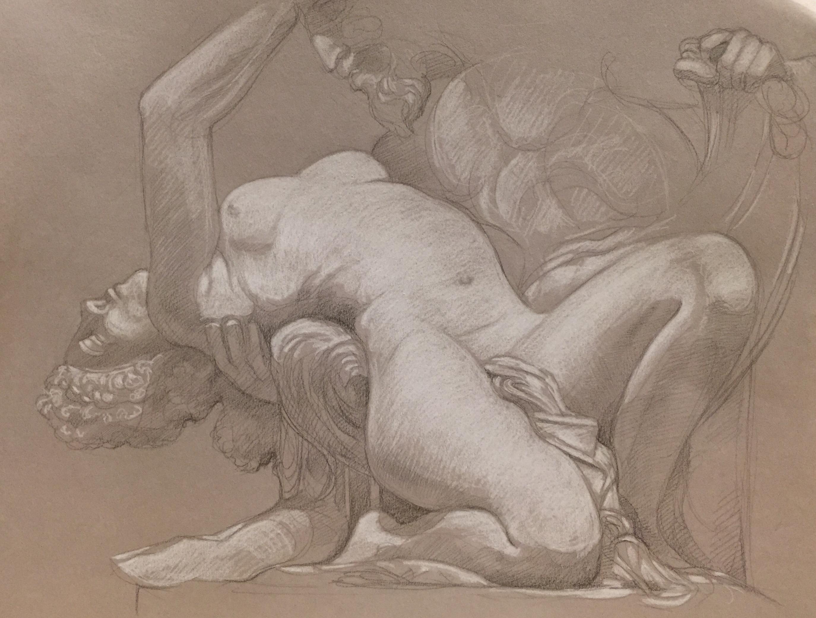 Satyre et Bacchante 7 pierre noire et crayon blanc