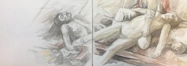 Le radeau de la Méduse aquarelle