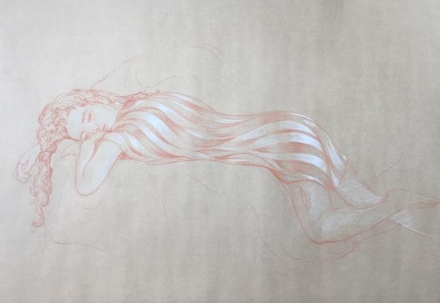 Modèle vivant 49 : sanguine et crayon blanc